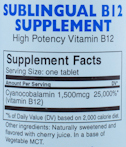 Vitamin B12 Sublingual - 60 caps